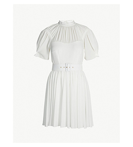 EMILIA WICKSTEAD Corinne pleated flared crepe mini dress (Ivory
