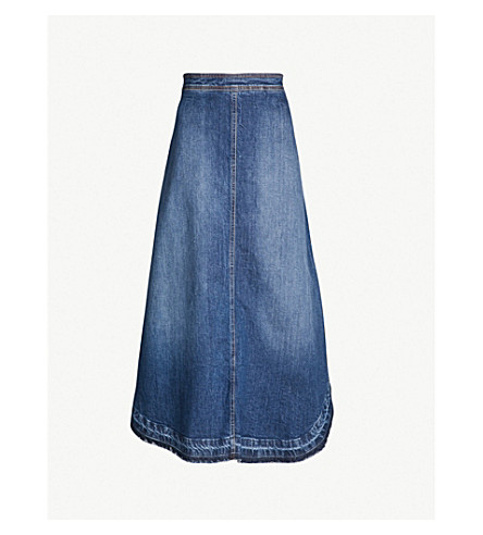PHILOSOPHY DI LORENZO SERAFINI High-waist denim midi skirt (Blue
