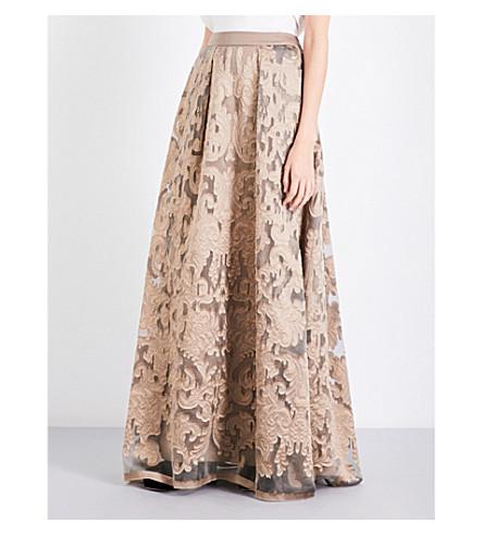 ALBERTA FERRETTI Box-pleated fil coupé maxi skirt (Gold