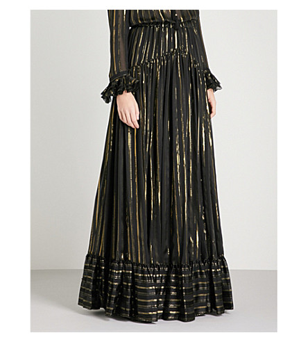 PHILOSOPHY DI LORENZO SERAFINI Metallic striped silk-blend maxi skirt (Monochrome