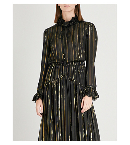 PHILOSOPHY DI LORENZO SERAFINI Metallic striped silk-blend blouse (Monochrome