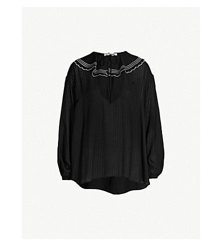 PHILOSOPHY DI LORENZO SERAFINI Ruffled-trim ribbed chiffon top (Black