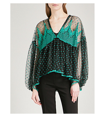 PHILOSOPHY DI LORENZO SERAFINI Floral-embroidered balloon-sleeve mesh top (Patterned