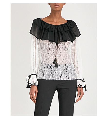PHILOSOPHY DI LORENZO SERAFINI Ruffled Bertha-collar lace blouse (Black