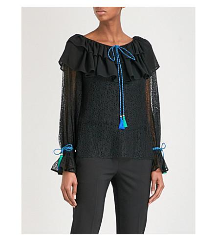 PHILOSOPHY DI LORENZO SERAFINI Ruffled Bertha-collar lace blouse (Monochrome