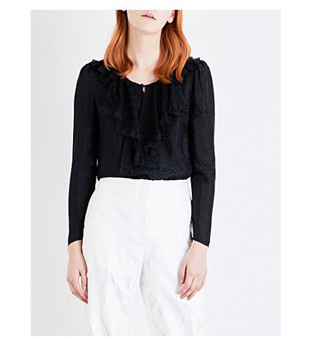 PHILOSOPHY DI LORENZO SERAFINI Ruffled lace-bib crepe blouse (Black