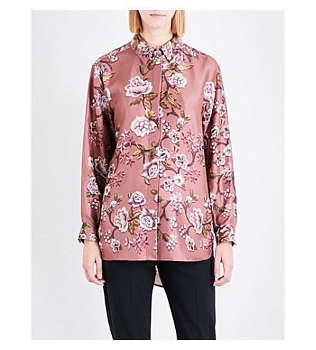 ALBERTA FERRETTI Classic floral silk-twill shirt (Pale+pink
