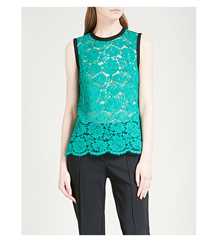 PHILOSOPHY DI LORENZO SERAFINI Sleeveless lace top (Green