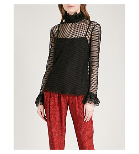 PHILOSOPHY DI LORENZO SERAFINI Ruffled high-neck lace blouse (Black