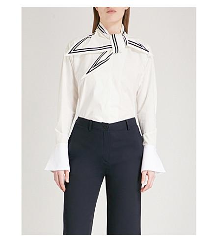 PHILOSOPHY DI LORENZO SERAFINI Neck-scarf cotton shirt (White