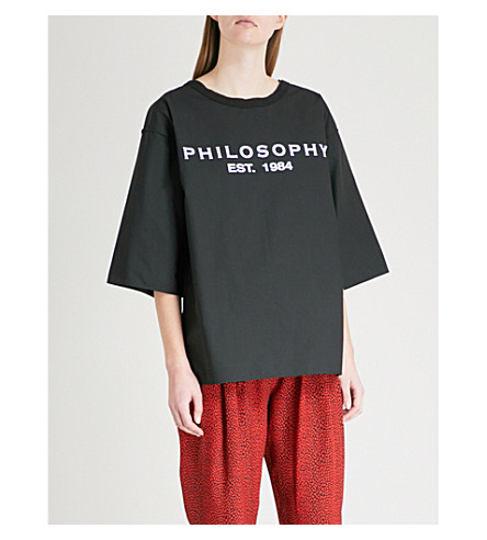 PHILOSOPHY DI LORENZO SERAFINI Logo-print cotton-jersey T-shirt (White