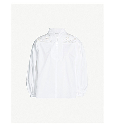 PHILOSOPHY DI LORENZO SERAFINI V-neck cotton-poplin blouse (White
