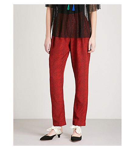 PHILOSOPHY DI LORENZO SERAFINI Leopard-print straight silk trousers (Red