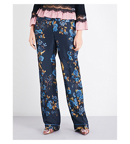 ALBERTA FERRETTI Floral-print relaxed-fit silk-satin pants (Navy