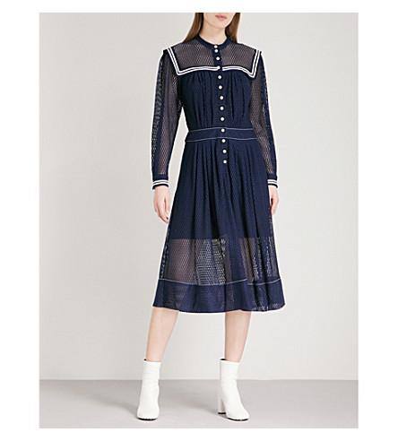 PHILOSOPHY DI LORENZO SERAFINI Sailor-collar geometric lace dress (Blue