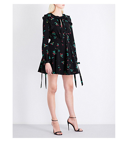 PHILOSOPHY DI LORENZO SERAFINI Cherry-print ruffled crepe mini dress (Black+multi
