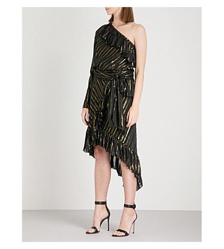 PHILOSOPHY DI LORENZO SERAFINI Metallic striped one-shoulder silk-blend dress (Monochrome