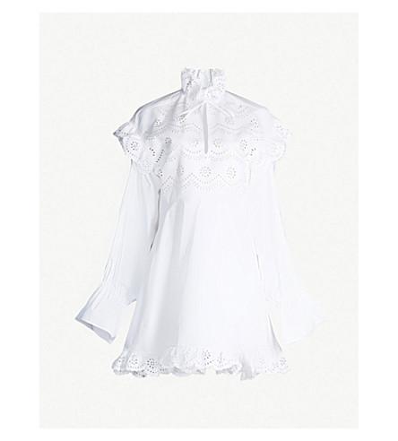 PHILOSOPHY DI LORENZO SERAFINI Broderie anglaise-panel cotton-poplin mini dress (White