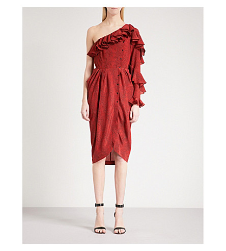 PHILOSOPHY DI LORENZO SERAFINI Ruffled asymmetric silk midi dress (Red