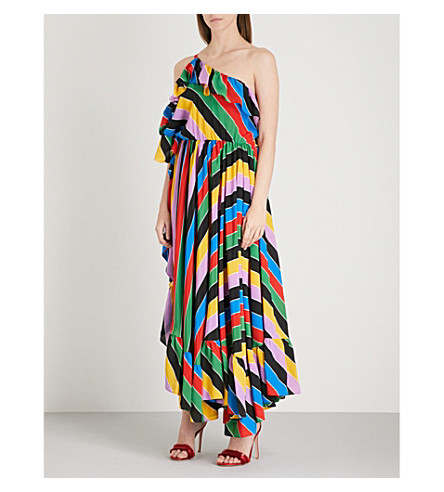 PHILOSOPHY DI LORENZO SERAFINI Striped ruffled one-shoulder silk-crepe dress (Multicoloured