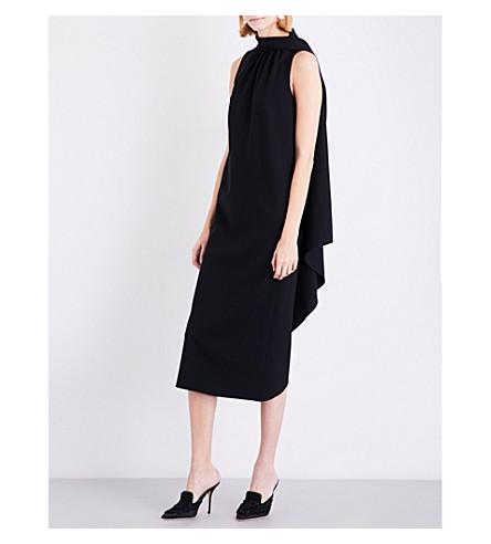 ALBERTA FERRETTI High neck wool-blend midi dress (Black