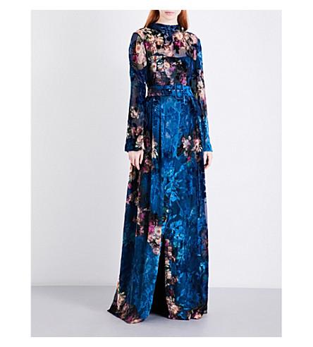 ALBERTA FERRETTI Floral devoré velvet gown (Turquoise