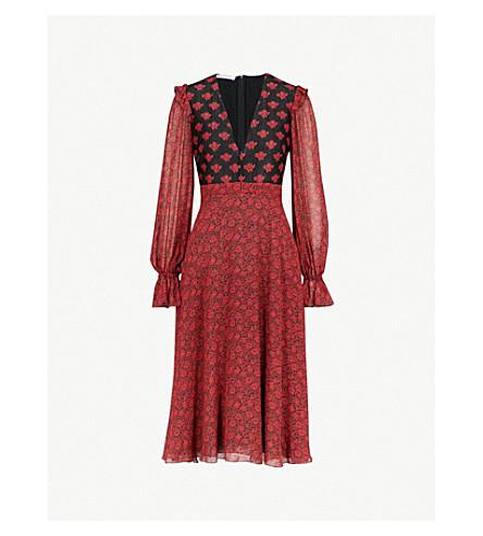PHILOSOPHY DI LORENZO SERAFINI 花印蕾丝和绉迷笛连衣裙 (黑/红 + 多