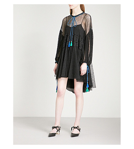 PHILOSOPHY DI LORENZO SERAFINI Tassel-detail lace dress (Black