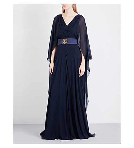ALBERTA FERRETTI Grecian-style silk gown (Navy