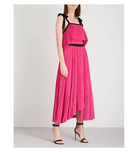 PHILOSOPHY DI LORENZO SERAFINI Halterneck pleated chiffon maxi dress (Pink