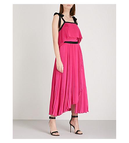 PHILOSOPHY DI LORENZO SERAFINI Halterneck pleated chiffon maxi dress (Pink