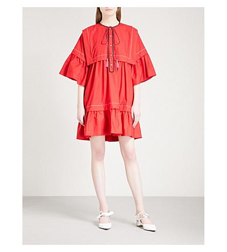 PHILOSOPHY DI LORENZO SERAFINI Tassel-detail cotton mini dress (Red