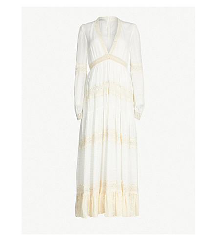 PHILOSOPHY DI LORENZO SERAFINI Lace-panel woven maxi dress (White