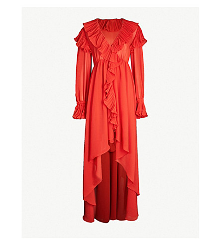PHILOSOPHY DI LORENZO SERAFINI Ruffle trim chiffon maxi dress (Red
