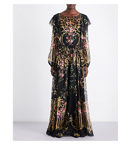 ALBERTA FERRETTI Baroque and floral-print chiffon dress (Black
