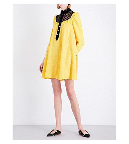PHILOSOPHY DI LORENZO SERAFINI A-line satin and lace dress (Yellow