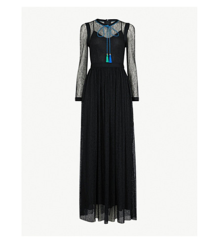 PHILOSOPHY DI LORENZO SERAFINI Necktie-detail lace maxi dress (Black