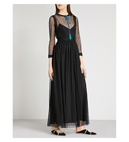 PHILOSOPHY DI LORENZO SERAFINI Necktie-detail lace maxi dress (Black