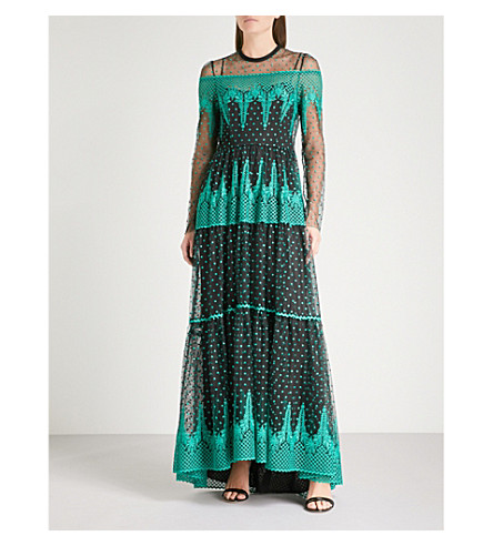 PHILOSOPHY DI LORENZO SERAFINI Lace-embroidered maxi dress (Multicoloured