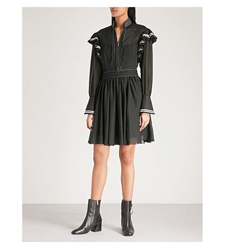 PHILOSOPHY DI LORENZO SERAFINI Frilled-panel cotton mini dress (Black
