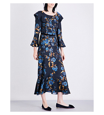 ALBERTA FERRETTI Ruffled floral-print silk-twill midi dress (Navy