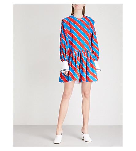 PHILOSOPHY DI LORENZO SERAFINI Diagonal striped cotton mini dress (Red/black