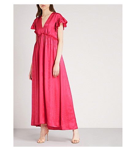 PHILOSOPHY DI LORENZO SERAFINI Paisley-patterned silk-satin maxi dress (Pink