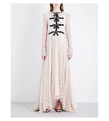 PHILOSOPHY DI LORENZO SERAFINI Velvet-trim floral-lace gown (White