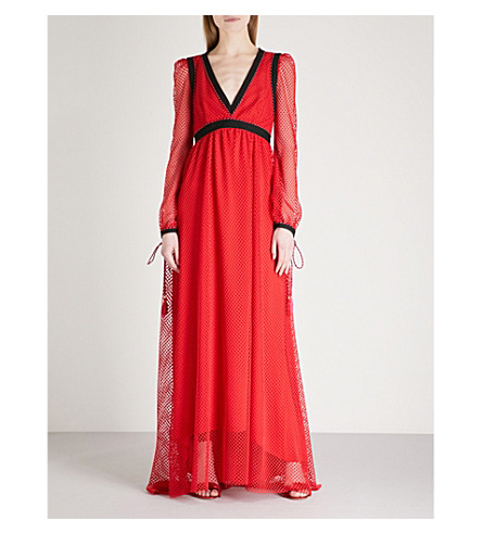 PHILOSOPHY DI LORENZO SERAFINI V-neck lace maxi-dress (Red