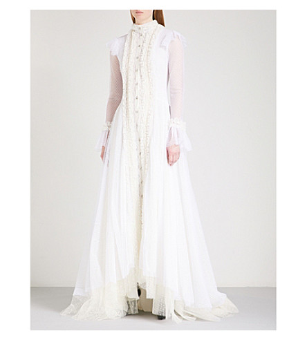 PHILOSOPHY DI LORENZO SERAFINI Frilled fit-and-flare tulle maxi dress (White