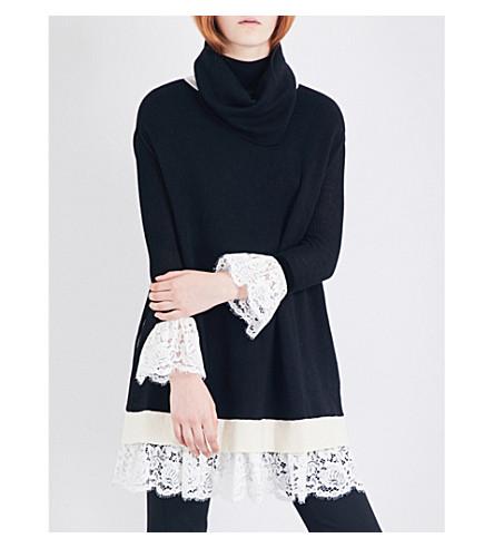 PHILOSOPHY DI LORENZO SERAFINI Lace-trim wool poncho (Black