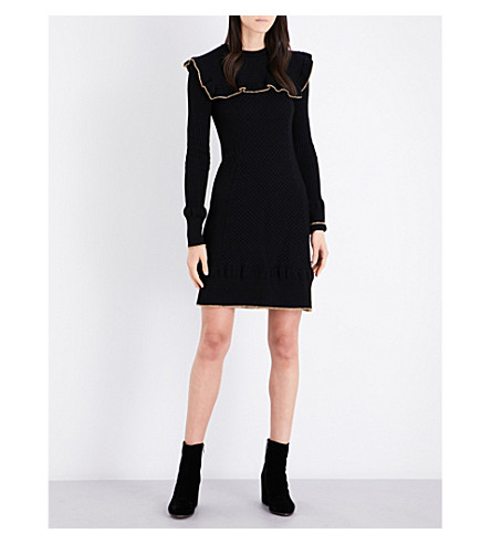 PHILOSOPHY DI LORENZO SERAFINI Ruffled stretch-wool knitted dress (Black+gold
