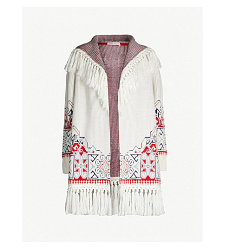 PHILOSOPHY DI LORENZO SERAFINI Tasselled knitted cotton-blend hooded jacket (White multicolour