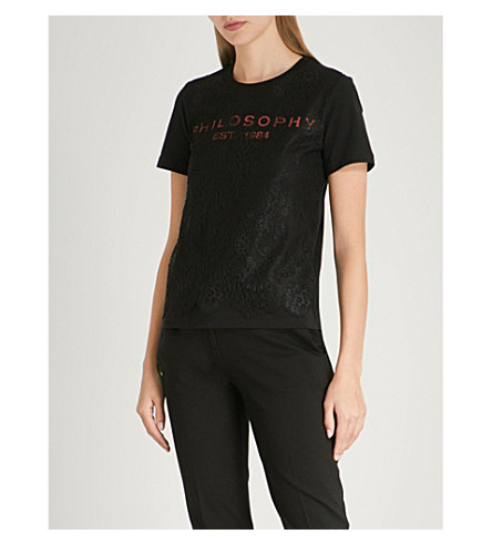 PHILOSOPHY DI LORENZO SERAFINI Logo-print lace cotton-jersey T-shirt (Black